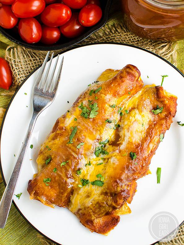 gluten free chicken enchiladas on a plate