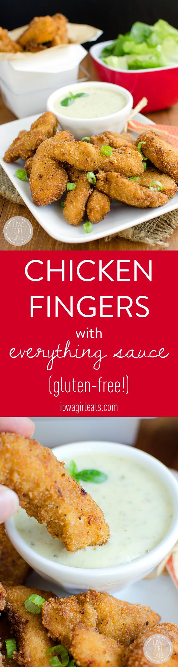 Photo collage of gluten free chicken fingers