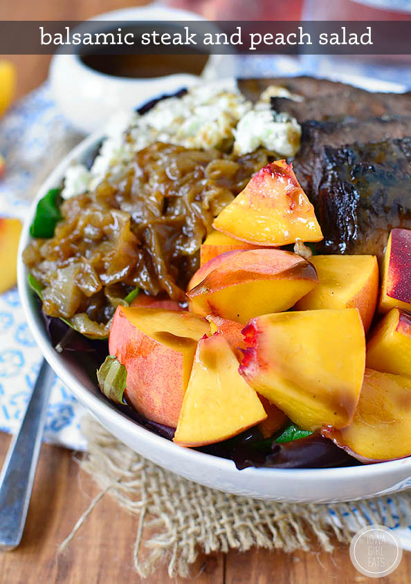 grilled steak and peach salad in a bowl