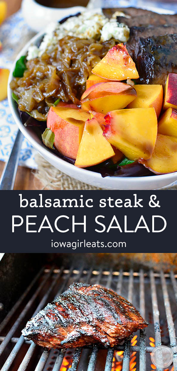 photo collage of steak and peach salad