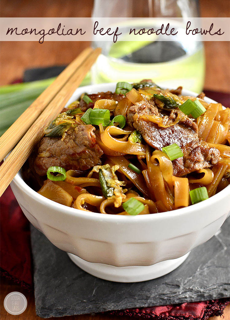 Gluten-Free Mongolian Beef Noodle Bowls taste just like take out, swapping rice for chewy rice noodles! | iowagirleats.com