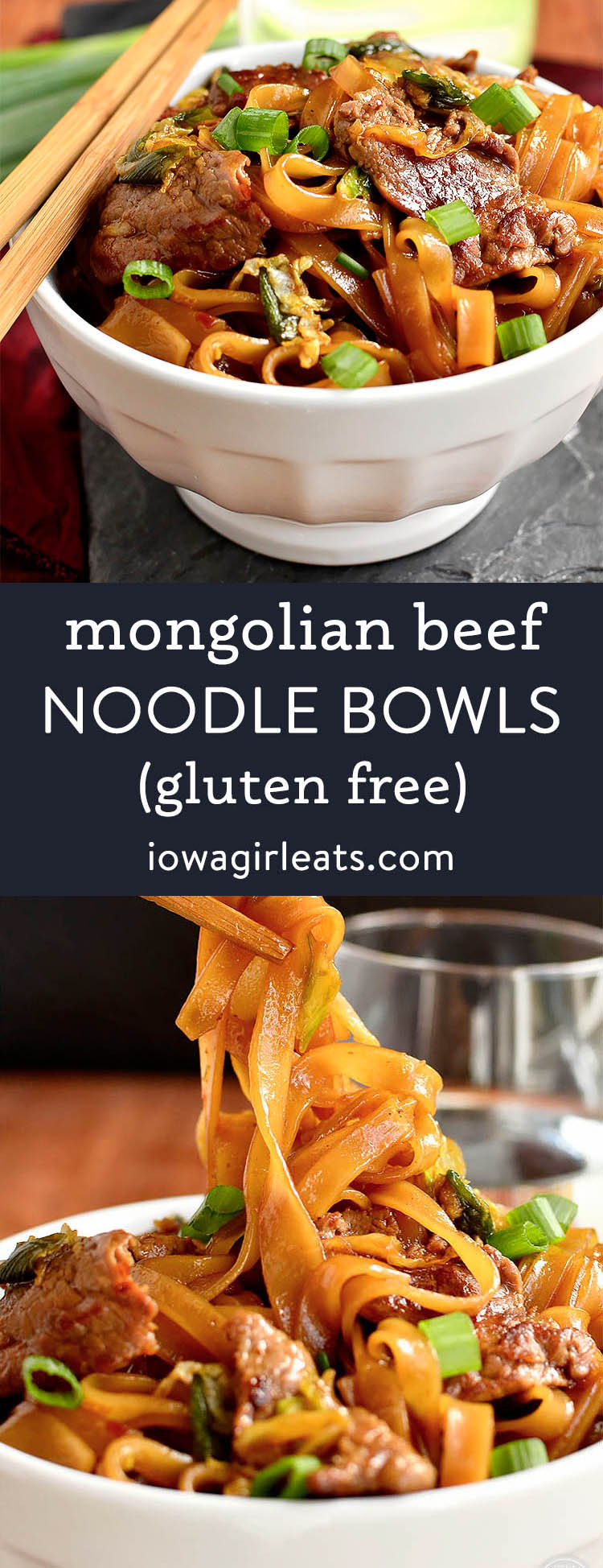 Photo collage of mongolian beef noodle bowls