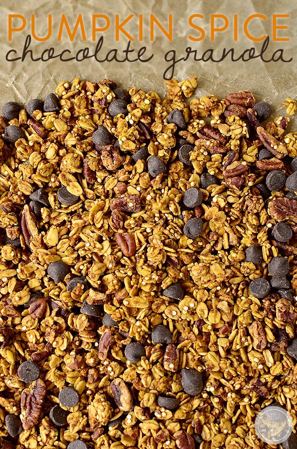 Pumpkin Spice Chocolate Granola is just sweet enough and spiced with the unmistakable flavors of fall, with a hint of dark chocolate. Gluten-free and refined-sugar-free, too! | iowagirleats.com