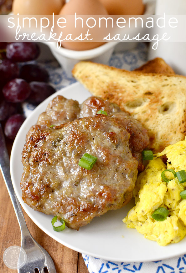 Simple Homemade Breakfast Sausage is just that - simple! Made in just one bowl with pantry staples, this breakfast sausage is freezer-friendly, and preservative and gluten-free, too. | iowagirleats.com