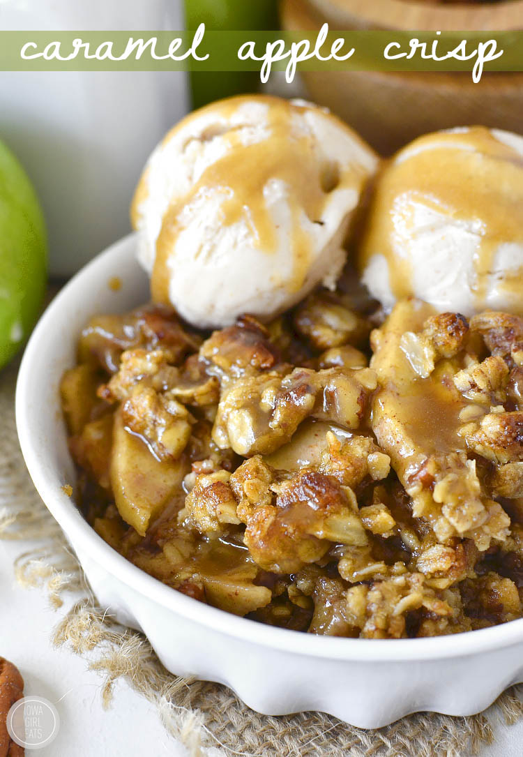 Gluten-free Caramel Apple Crisp with Easy Caramel Sauce is decadent and delicious. Serve warm with a scoop of ice cream for a heavenly fall treat!   iowagirleats.com