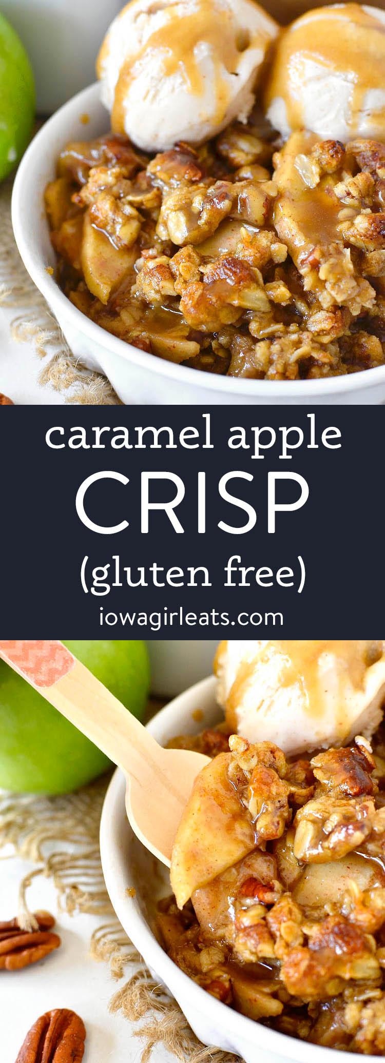 photo collage of gluten free caramel apple crisp