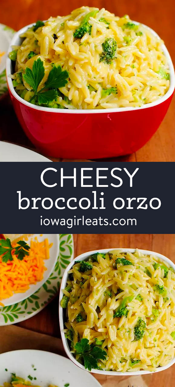 photo collage of cheesy broccoli orzo