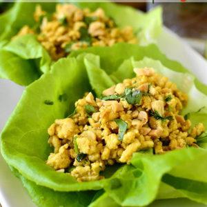 20 Minute Chicken Satay Lettuce Wraps