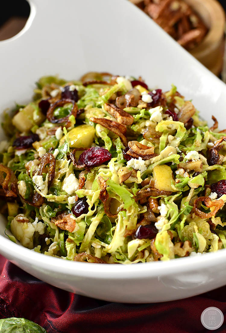Fall Shredded Brussels Sprouts Salad is crispy and crunchy, and full of fresh and savory flavors! | iowagirleats.com