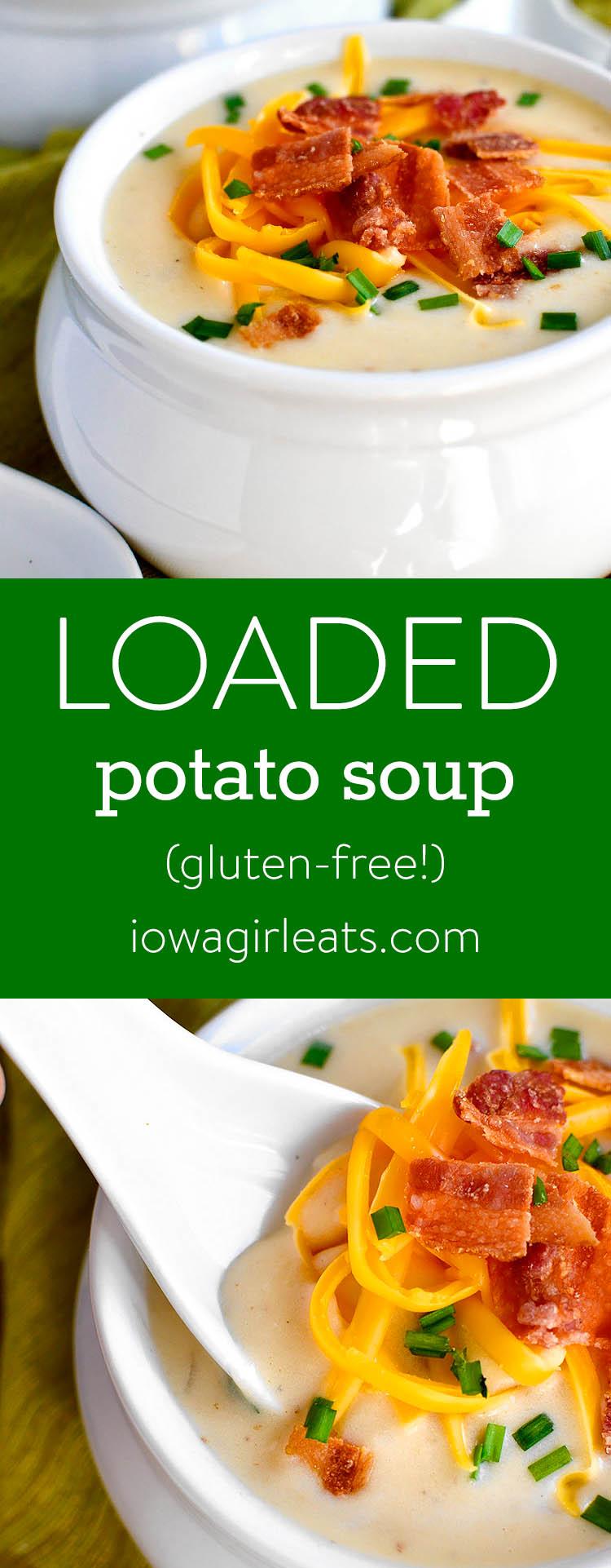 Photo collage of Loaded Potato Soup