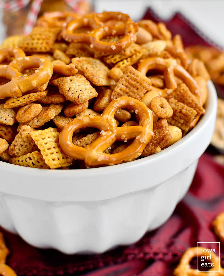 bowl of gluten free chex mix