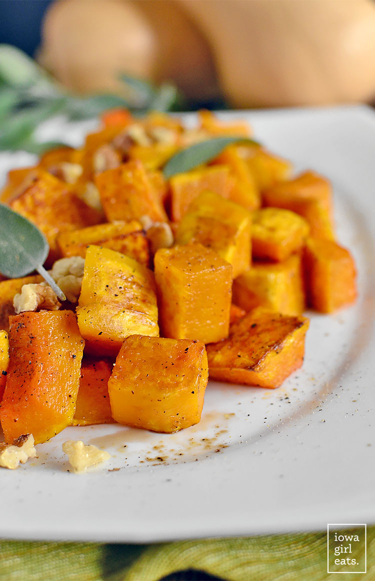 Roasted Balsamic Butternut Squash is easy and delicious. Serve as a fresh and seasonal gluten-free side with any weeknight or holiday meal!   iowagirleats.com