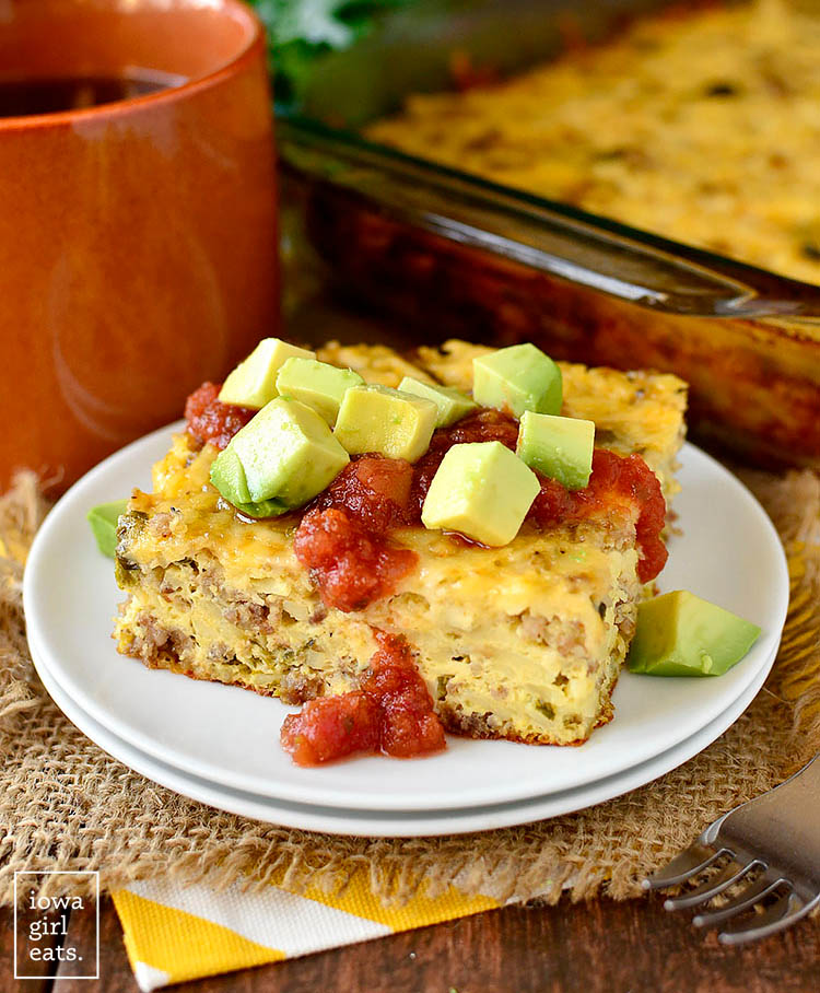 a slice of roasted poblano and sausage breakfast casserole on a plate