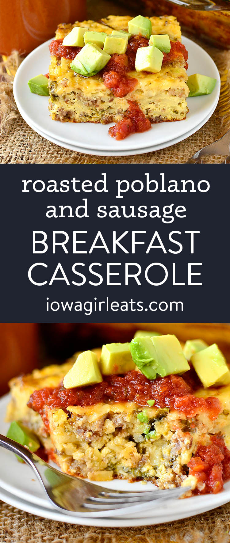 photo collage of roasted poblano and sausage breakfast casserole