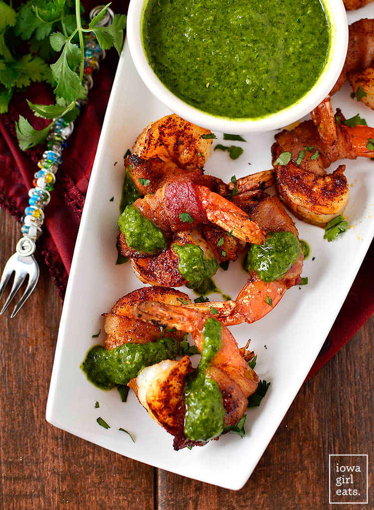 bacon wrapped shrimp on a serving platter