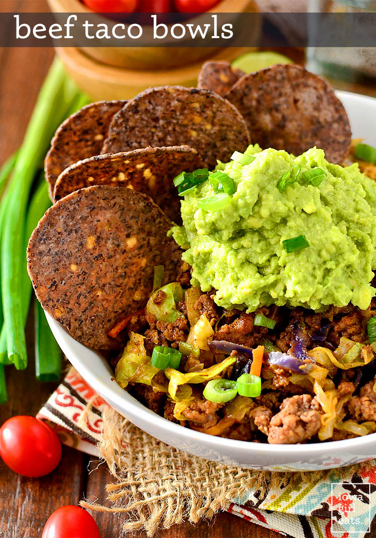 low carb beef taco bowls with guacamole and chips