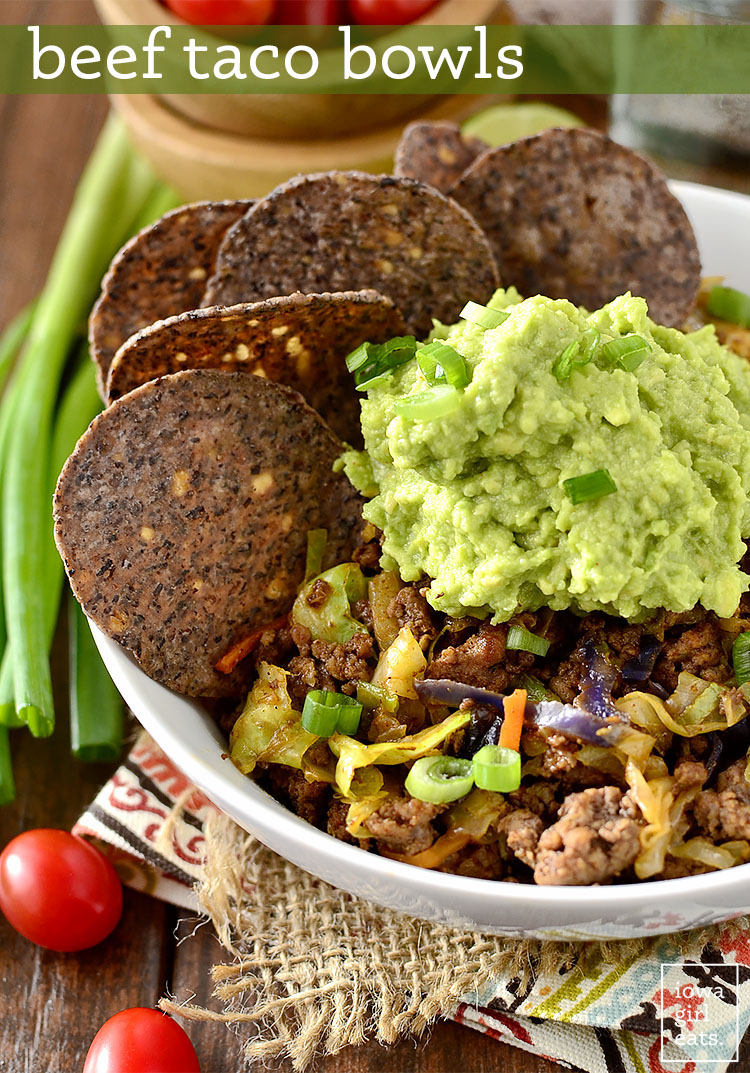 Beef Taco Bowls are healthy and quick - just 15 minutes from skillet to table!   iowagirleats.com