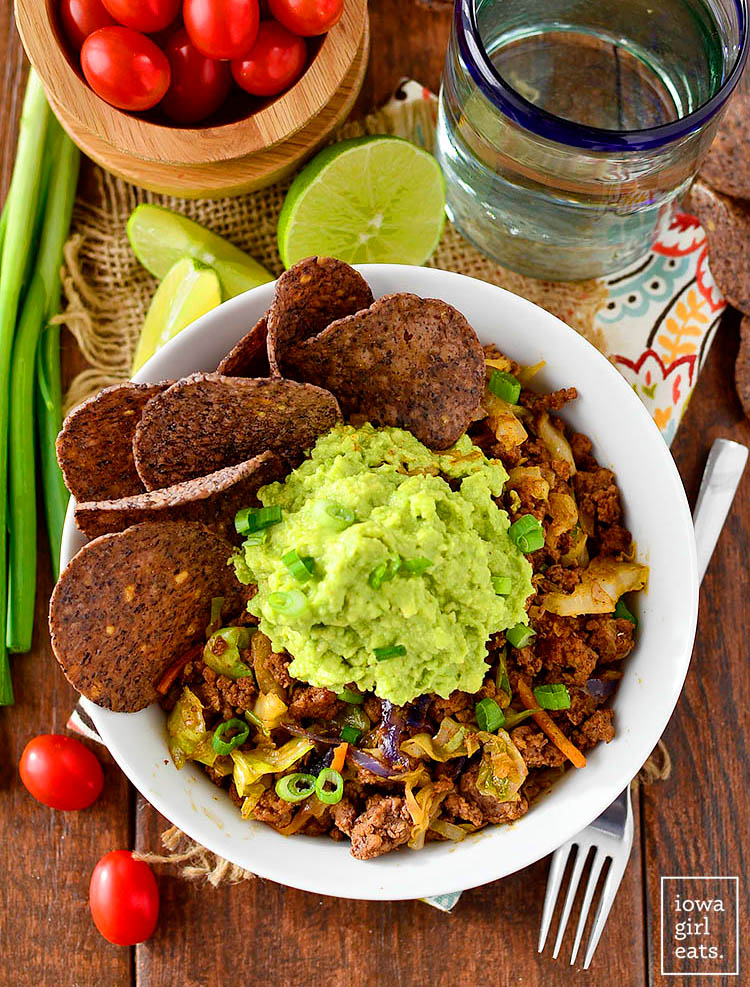 beef taco bowls with guacamole and chips