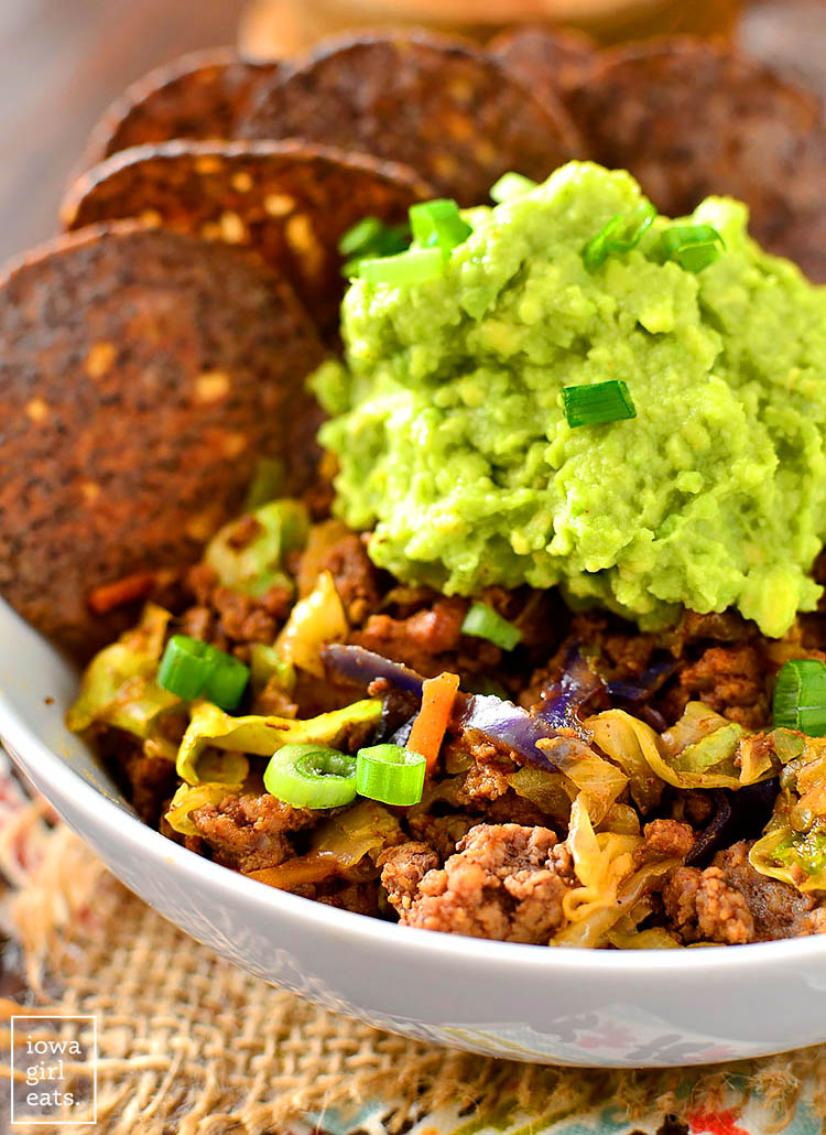 beef taco bowls with guacamole and bean chips