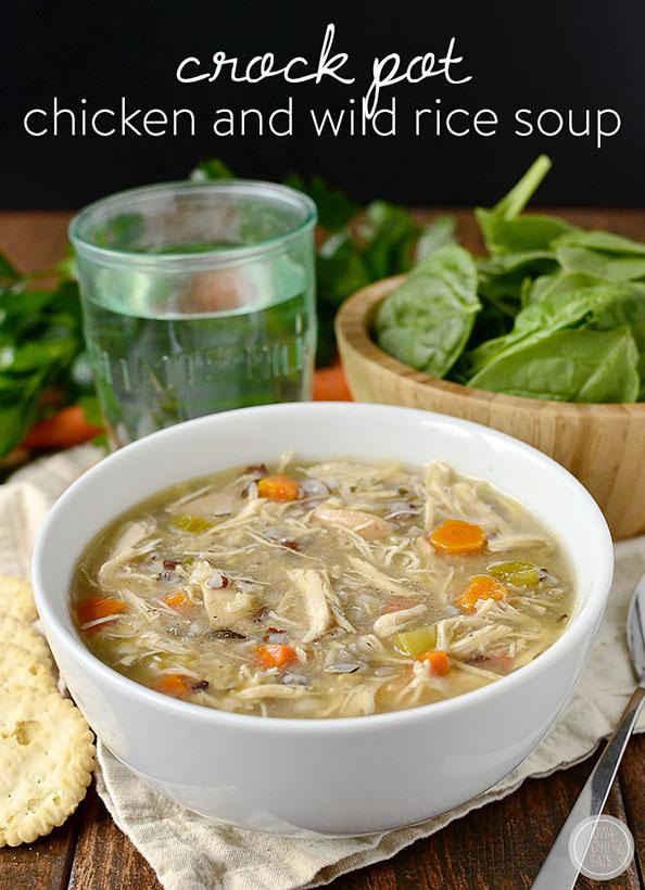 Crock Pot Chicken and Wild Rice Soup | iowagirleats.com