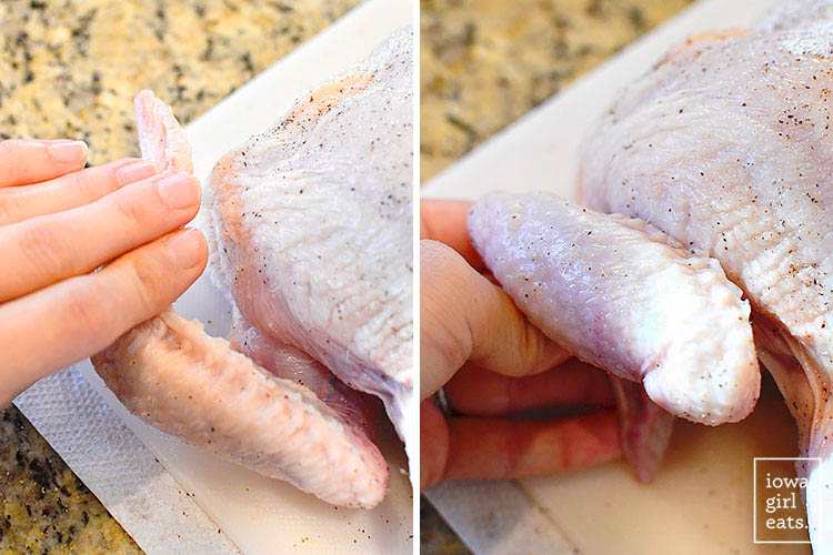 flipping the wings of a chicken back so they don't burn in the oven