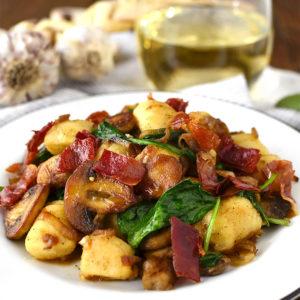 Gnocchi with Spinach, Mushrooms and Crispy Prosciutto