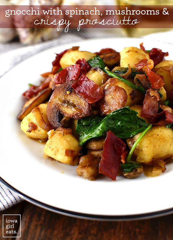 Get your forks ready – you'll be fighting over the last bite of Gnocchi with Spinach, Mushrooms and Crispy Prosciutto. This 30 minute, gluten and dairy-free meal is a stunner! | iowagirleats.com