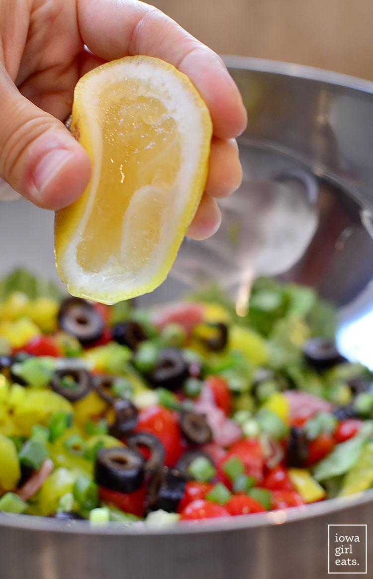 Italian Sub Salad tastes like a jam-packed deli sub. Fresh, healthy, and gluten-free! | iowagirleats.com