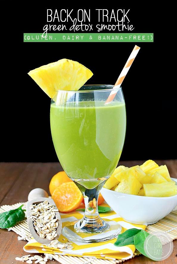 Back on Track Green Detox Smoothie #glutenfree   iowagirleats.com
