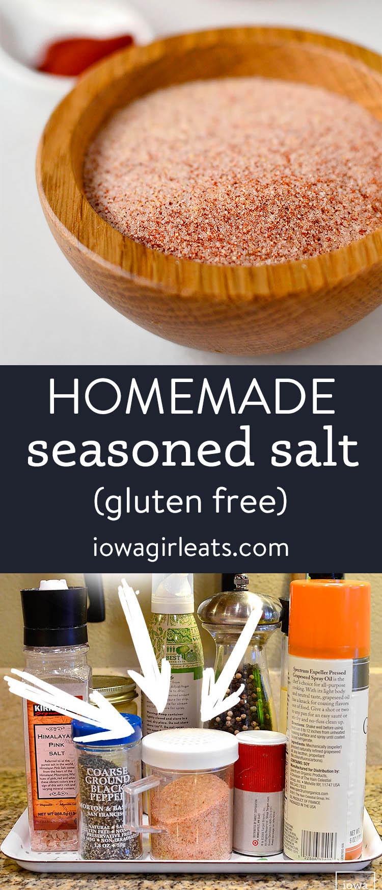 photo collage of homemade seasoned salt