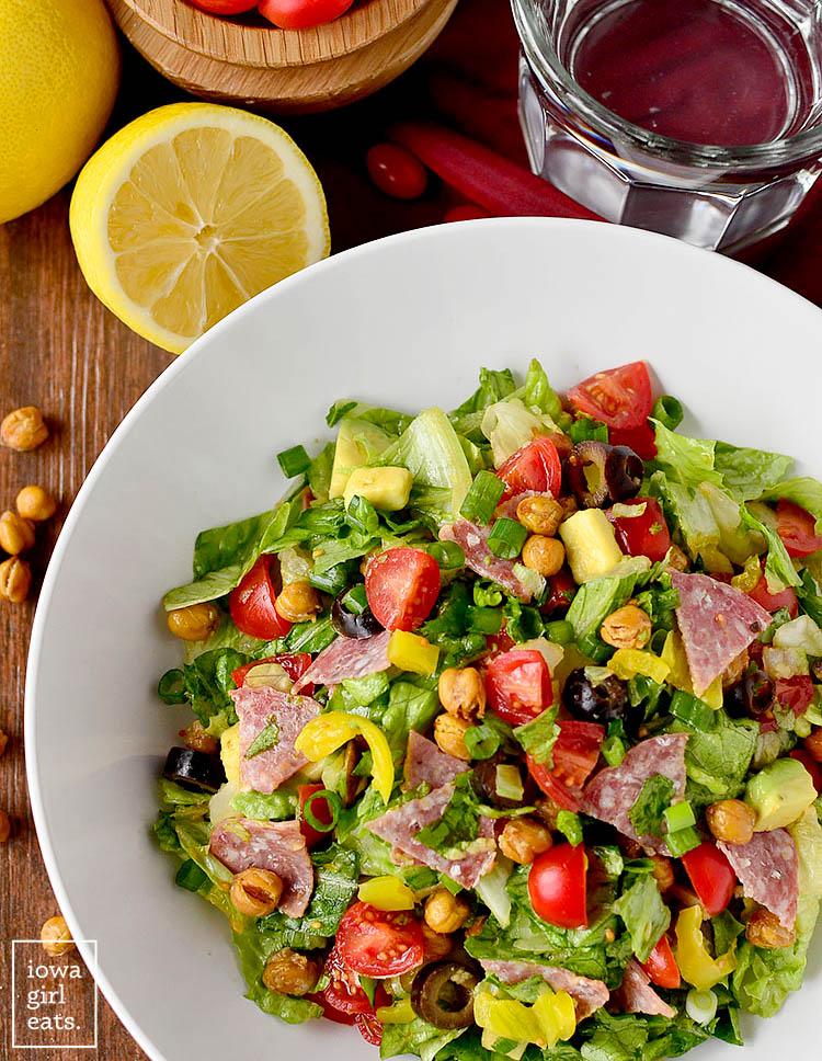 overhead photo of italian sub salad in a bowl