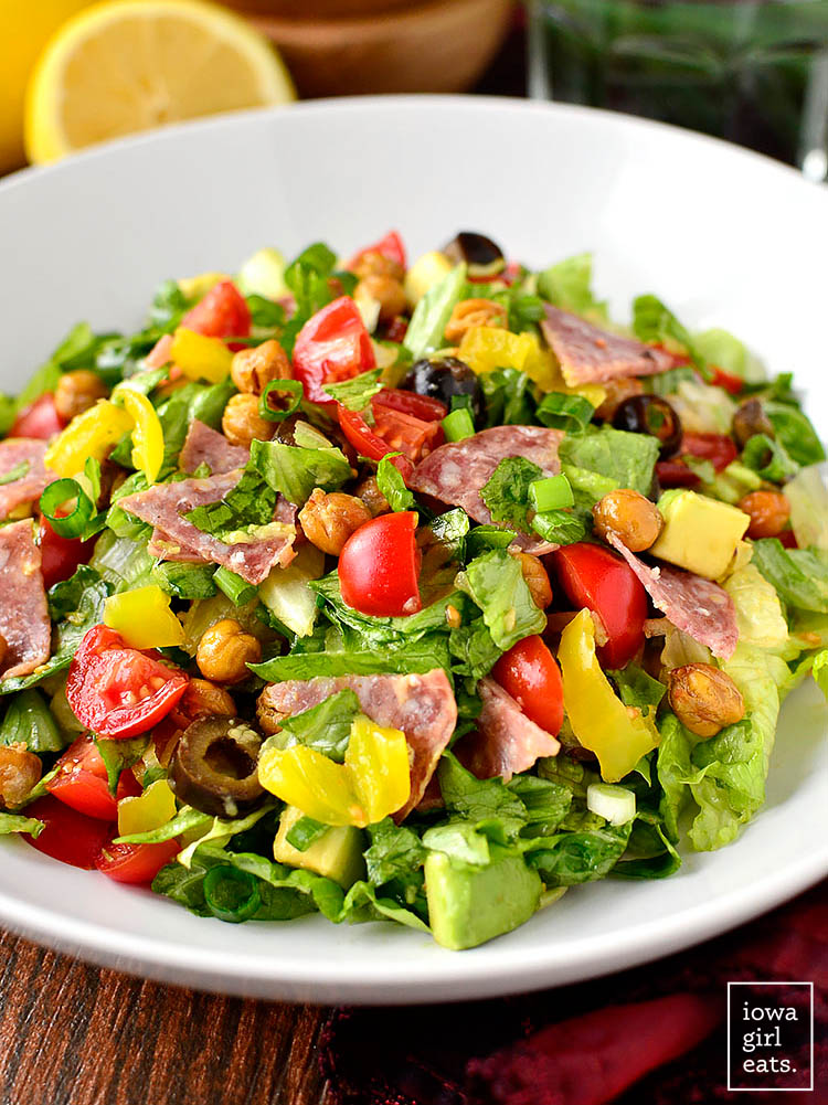 italian sub salad in a large bowl