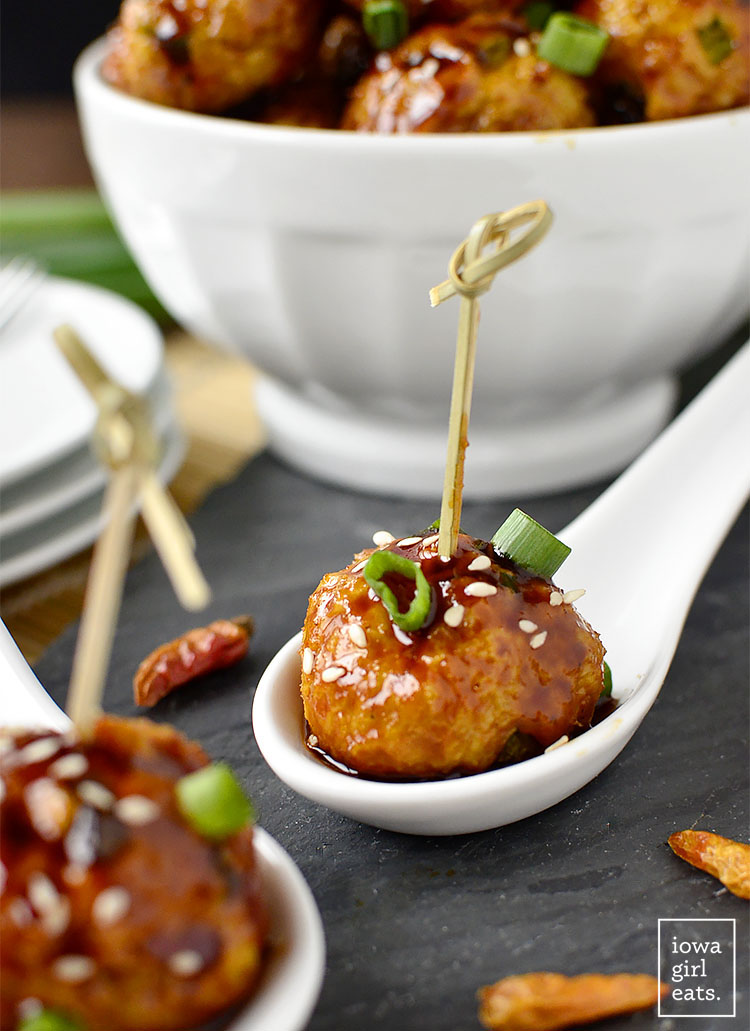 Kung Pao Chicken Meatballs are the perfect bite-sized game day or party appetizer!   iowagirleats.com