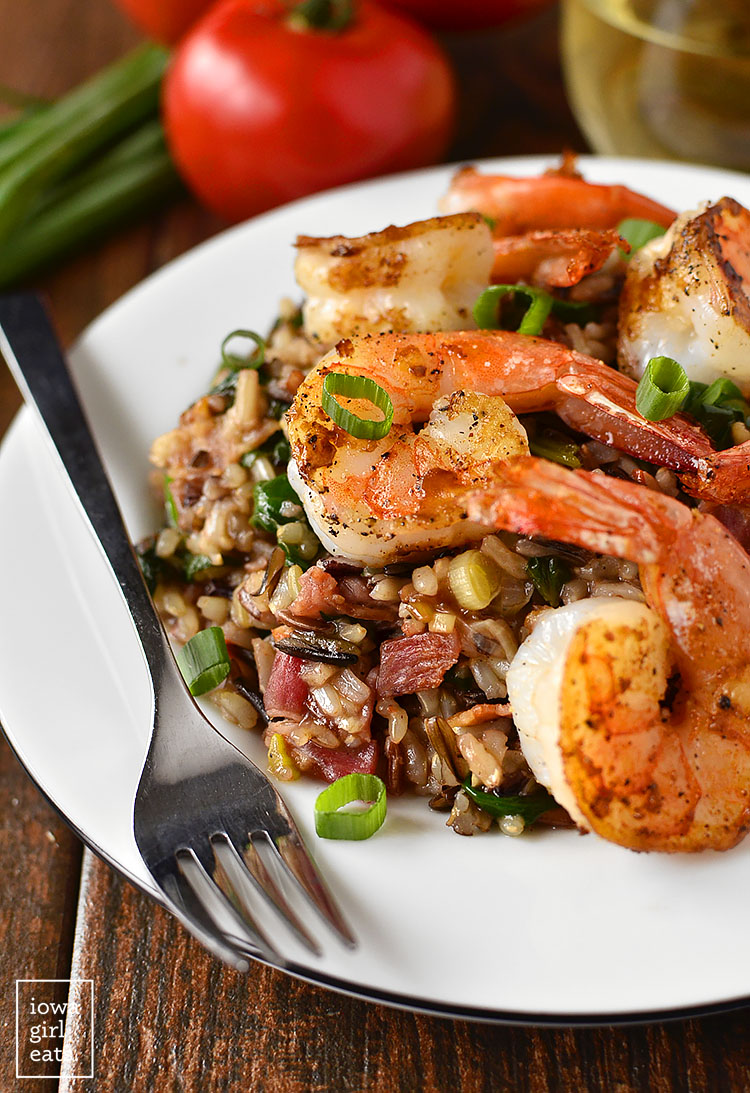Shrimp and Wild Rice Skillet is healthy and hearty. A craveable gluten-free dinner recipe! | iowagirleats.com