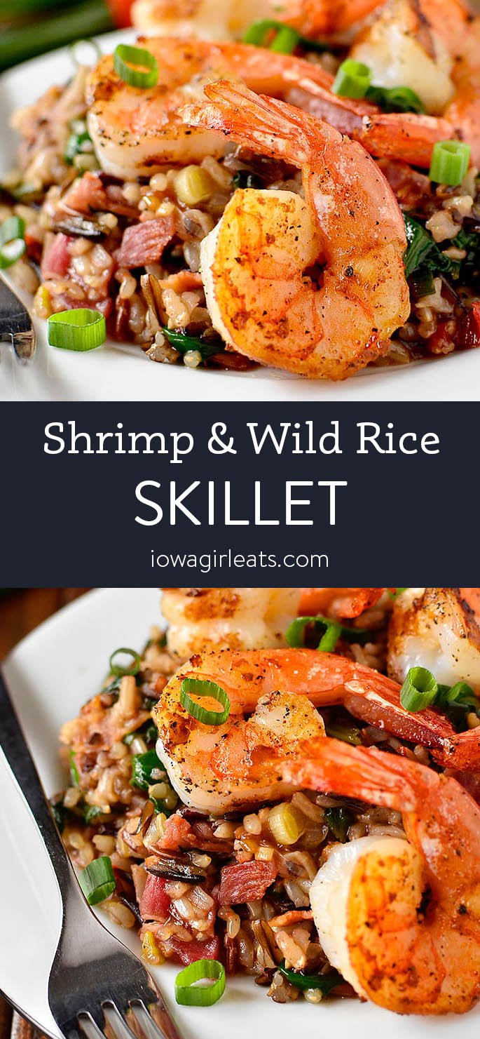 Photo Collage of Shrimp and Wild Rice Skillet