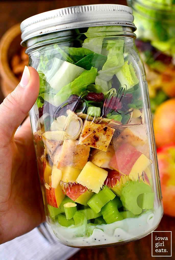 large layered salad in a mason jar