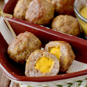Cheddar Brat Meatballs + 3 Dipping Sauces