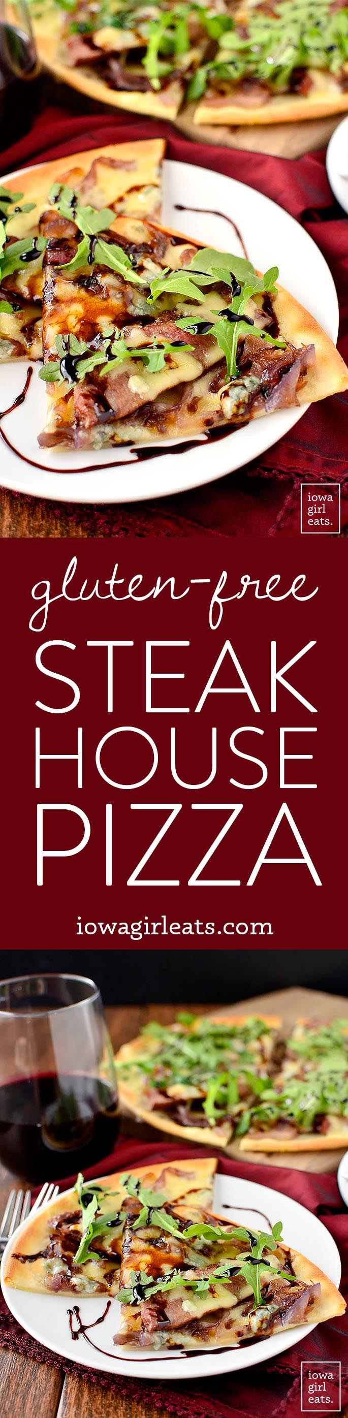 Gluten-Free Steak House Pizza is loaded with steak house favorites like buttery steak, caramelized onions, balsamic reduction, and two types of cheeses! | iowagirleats.com