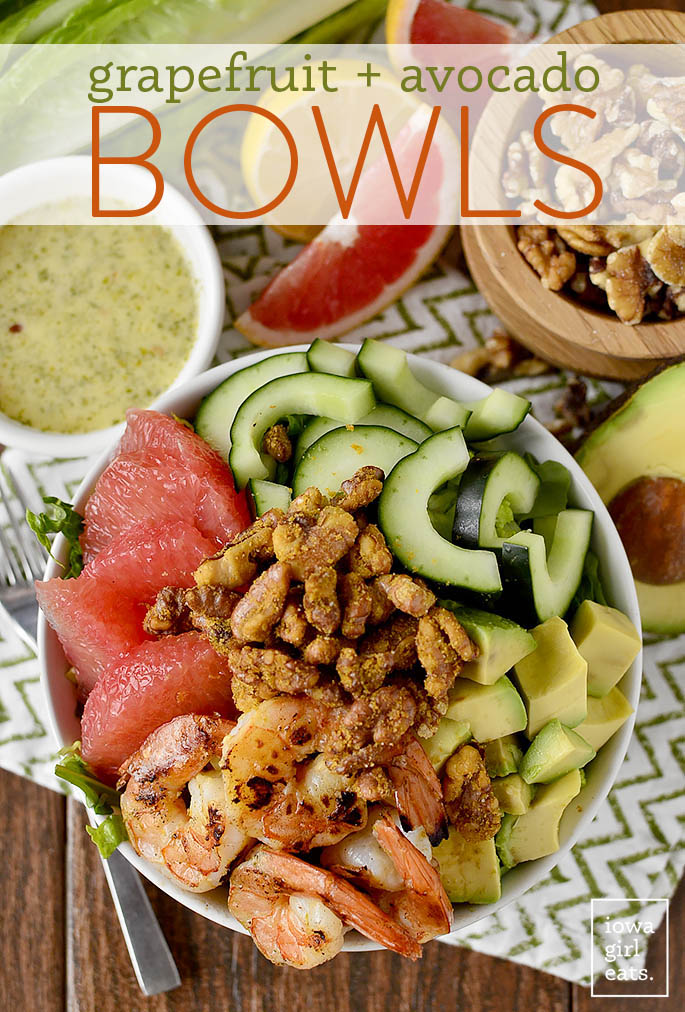 Grapefruit + Avocado Bowls are fresh and healthy, with a delicious and addicting, easy walnut topping!   iowagirleats.com