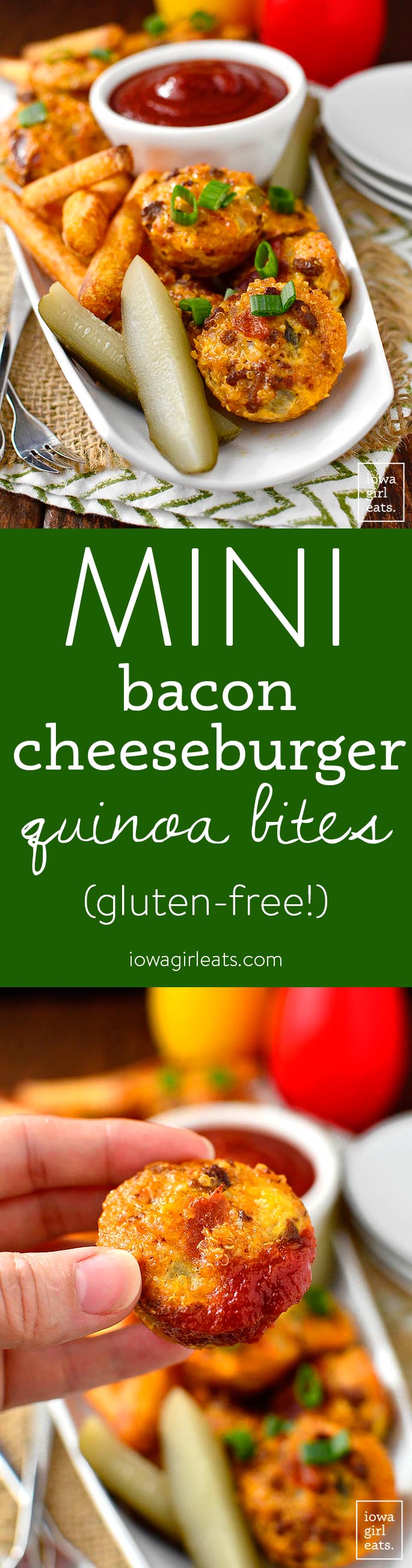 Mini Bacon Cheeseburger Quinoa Bites are bite-sized, gluten-free bacon cheeseburgers with a boost of extra protein! | iowagirleats.com