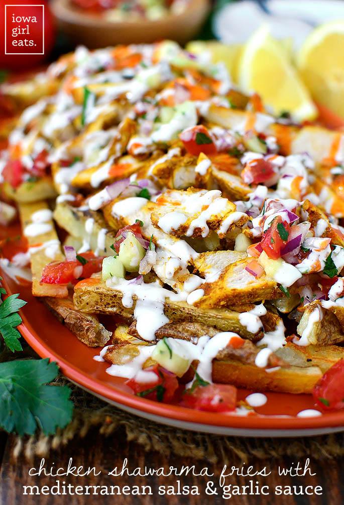 Chicken Shawarma Fries on a platter