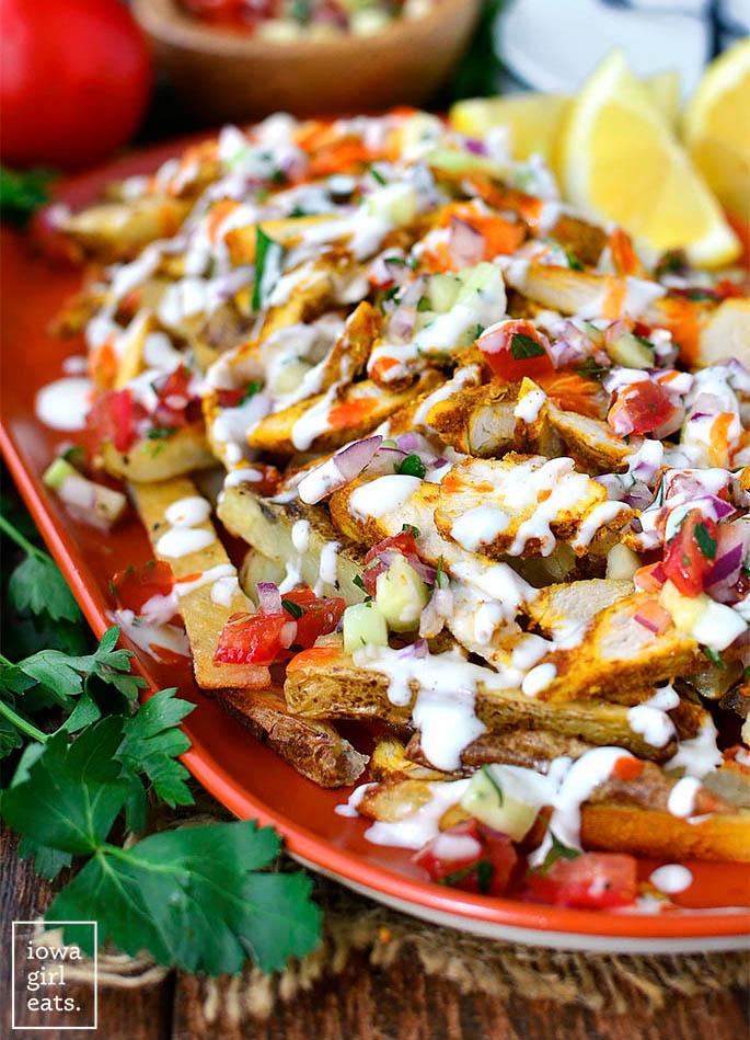fresh mediterranean salsa on chicken shawarma fries