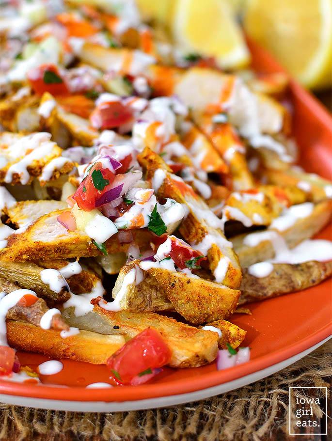 close up photo of chicken shawarma fries