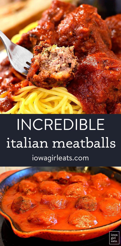 photo collage of homemade incredible italian meatballs