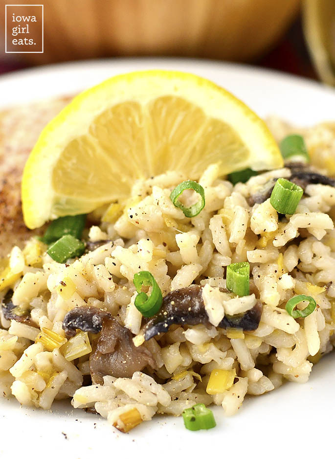 Leek and Mushroom Rice is the perfect light and healthy, gluten-free side dish. Serve with chicken or fish and dinner's done! | iowagirleats.com