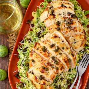 Shredded Brussels Sprouts Caesar Salad