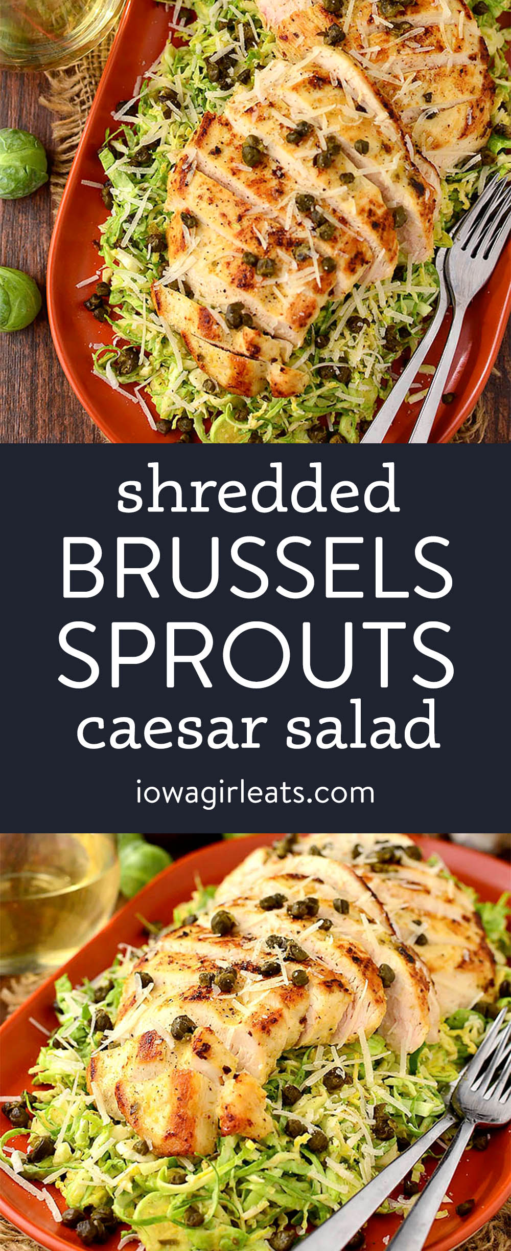 photo collage of shredded brussels sprout caesar salad