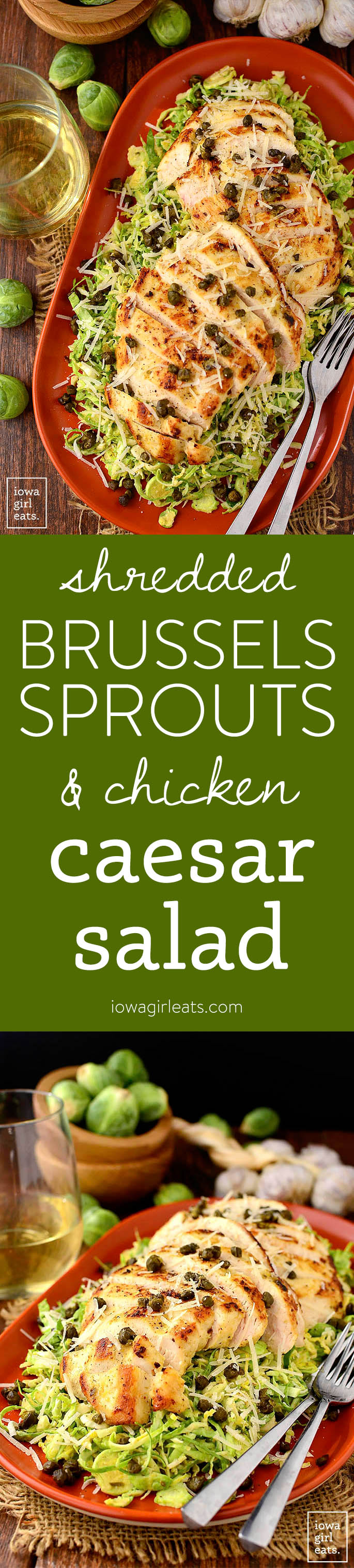 Photo collage of brussels sprouts and chicken caesar salad