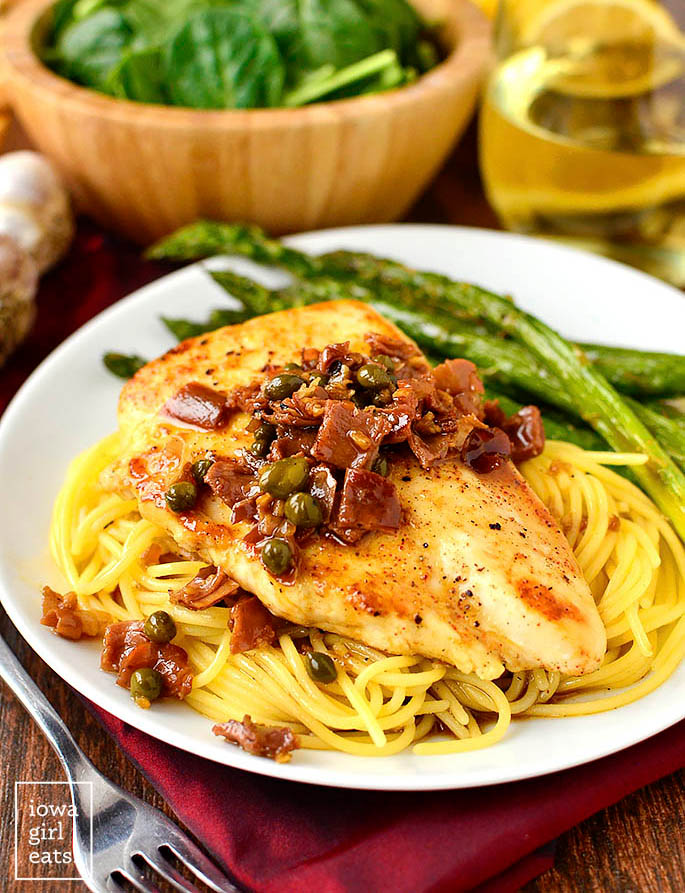luscious company chicken with pan sauce over pasta