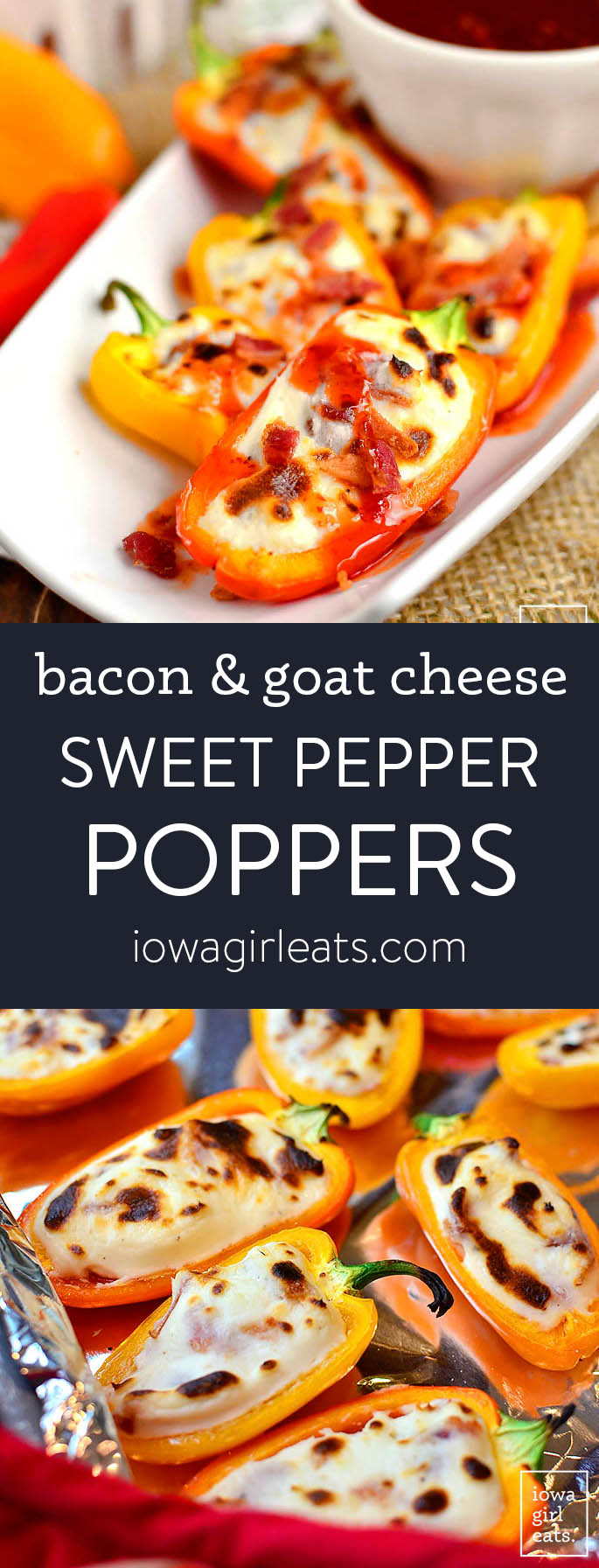 Photo collage of sweet pepper poppers